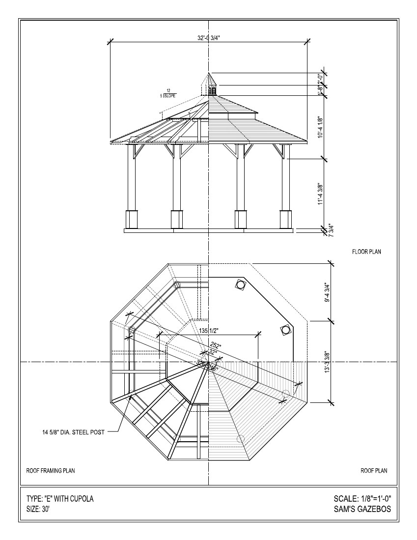 octagon gazebo with copper two tiered pagoda roof copper cupola plain corbels  [ 849 x 1099 Pixel ]