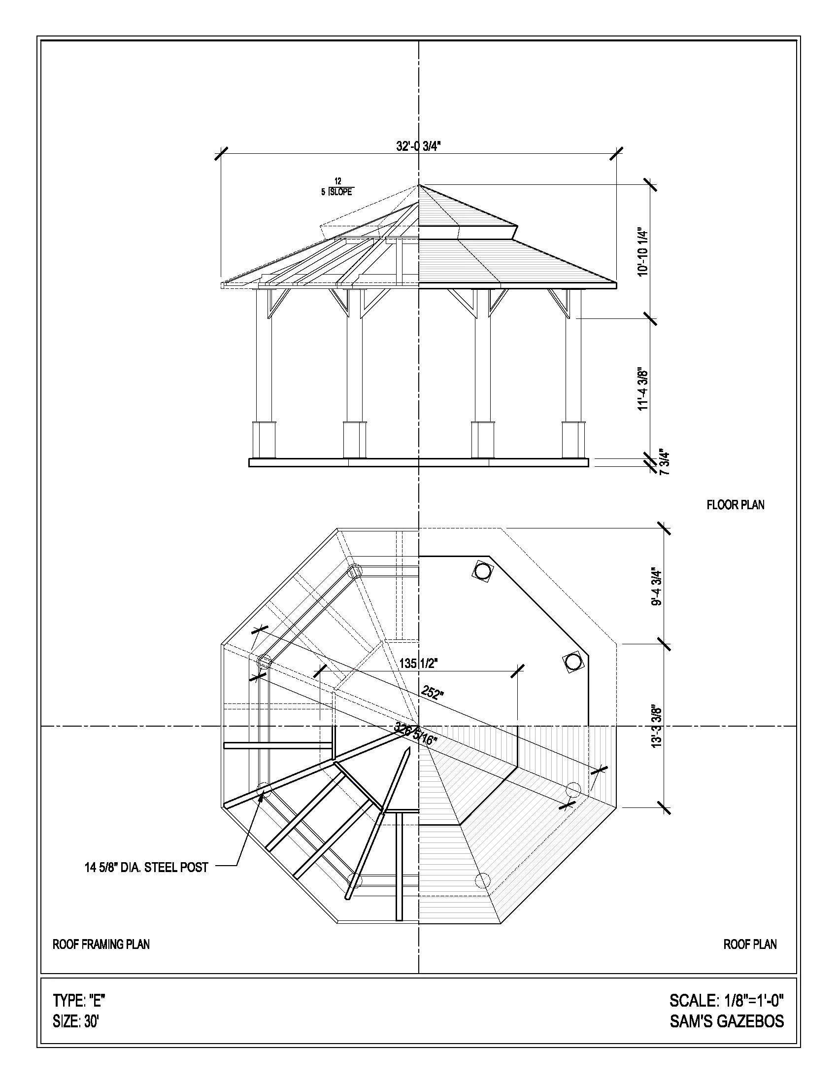 octagon gazebo with copper two tiered pagoda roof copper cupola plain corbels  [ 1701 x 2201 Pixel ]