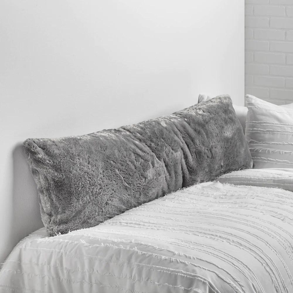 super soft body pillow cover grey