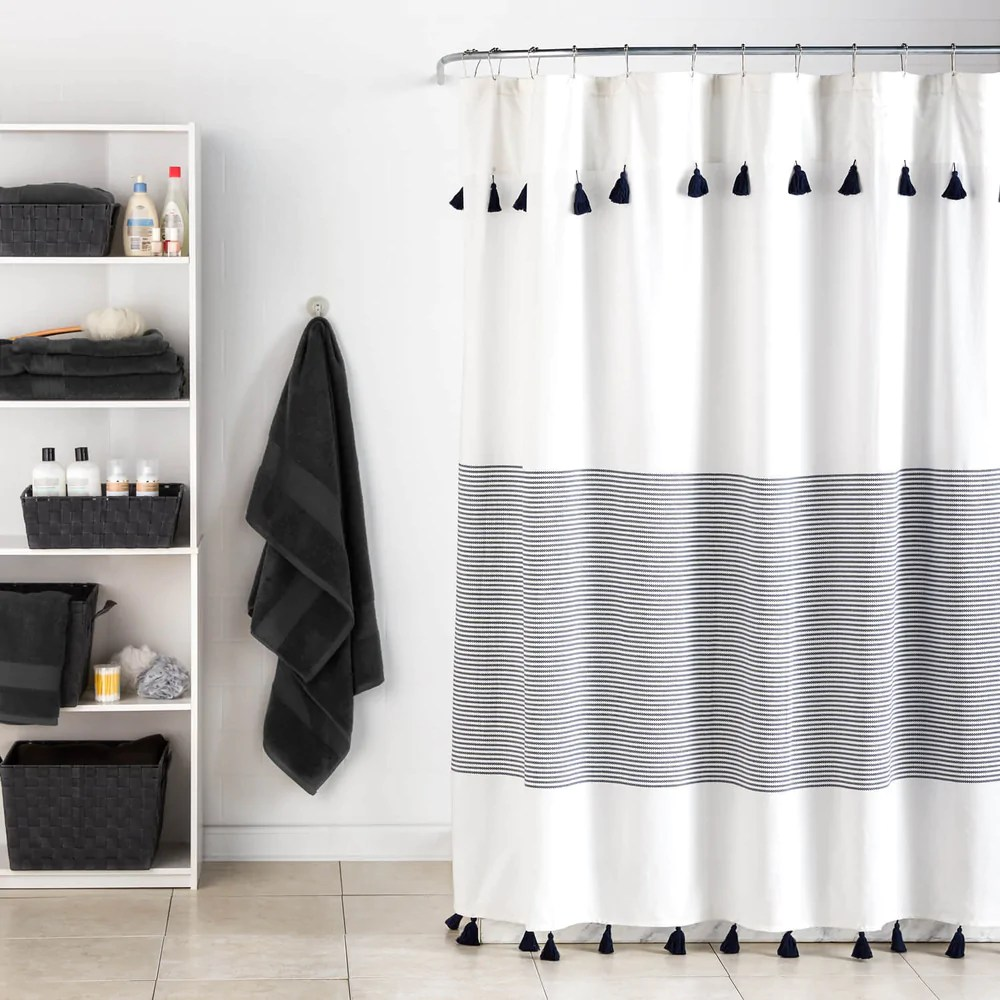 Bathroom Shower Curtain Panama Stripe Shower Curtain Navy