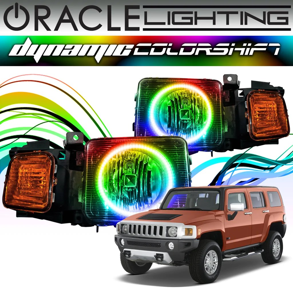 2005 2010 hummer h3 oracle dynamic colorshift headlight halo kit oracle lighting [ 1024 x 1024 Pixel ]