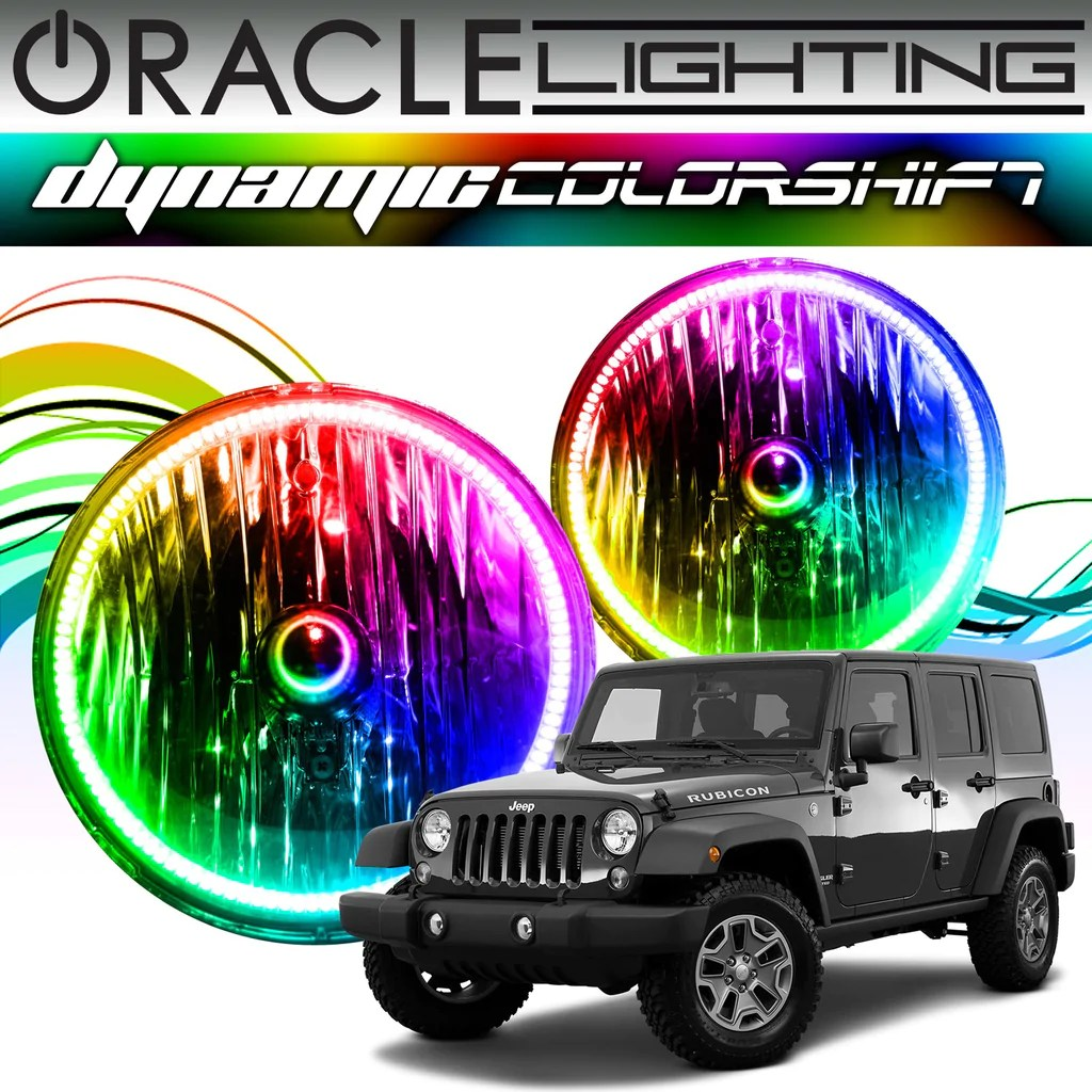 hight resolution of 2007 2017 jeep wrangler oracle dynamic colorshift headlight halo kit