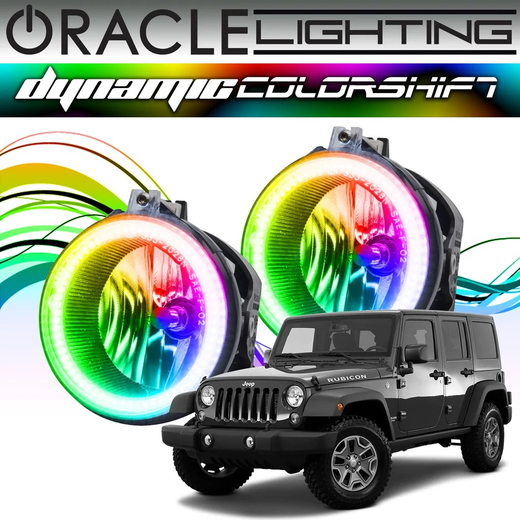 hight resolution of 2007 2017 jeep wrangler oracle dynamic colorshift fog light halo kit oracle lighting