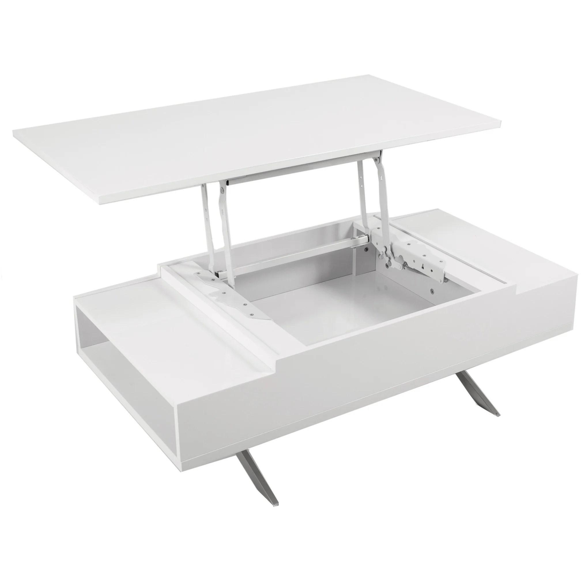stelar white lift top rectangular coffee table by matrix