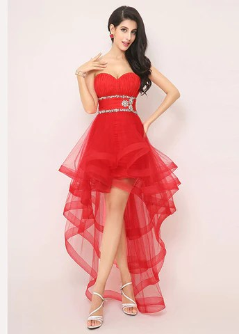 Exquisite Silk-like Tulle Sweetheart Neckline Hi-lo A-line Prom Dresses