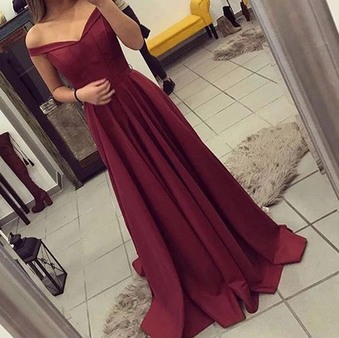 2017 Burgundy Off-Shoulder Evening Gowns