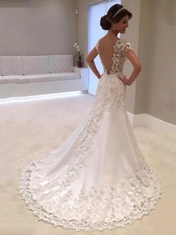 Short Sleeves Appliques Mermaid Wedding Dress