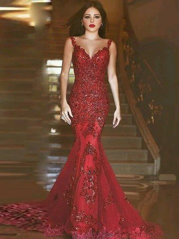 Trumpet/Mermaid Red Applique Tulle Prom Dress