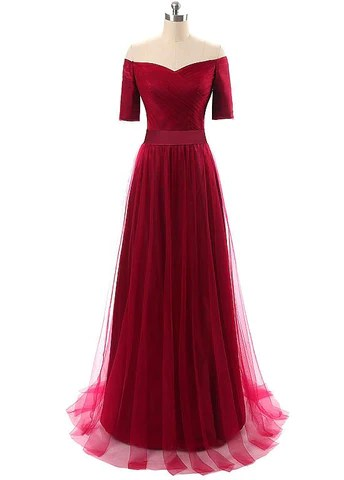 Gorgeous Tulle Off-the-shoulder Neckline A-Line Evening Dresses With Pleats