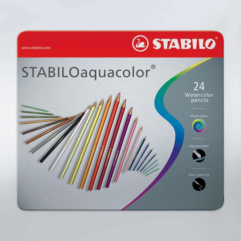 hight resolution of watercolour art pencils by stabilo tin of 24 colours