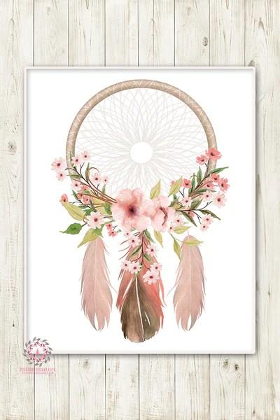 Wallpaper For Baby Girl Room Boho Nursery Print Wall Art Watercolor Dreamcatcher Floral
