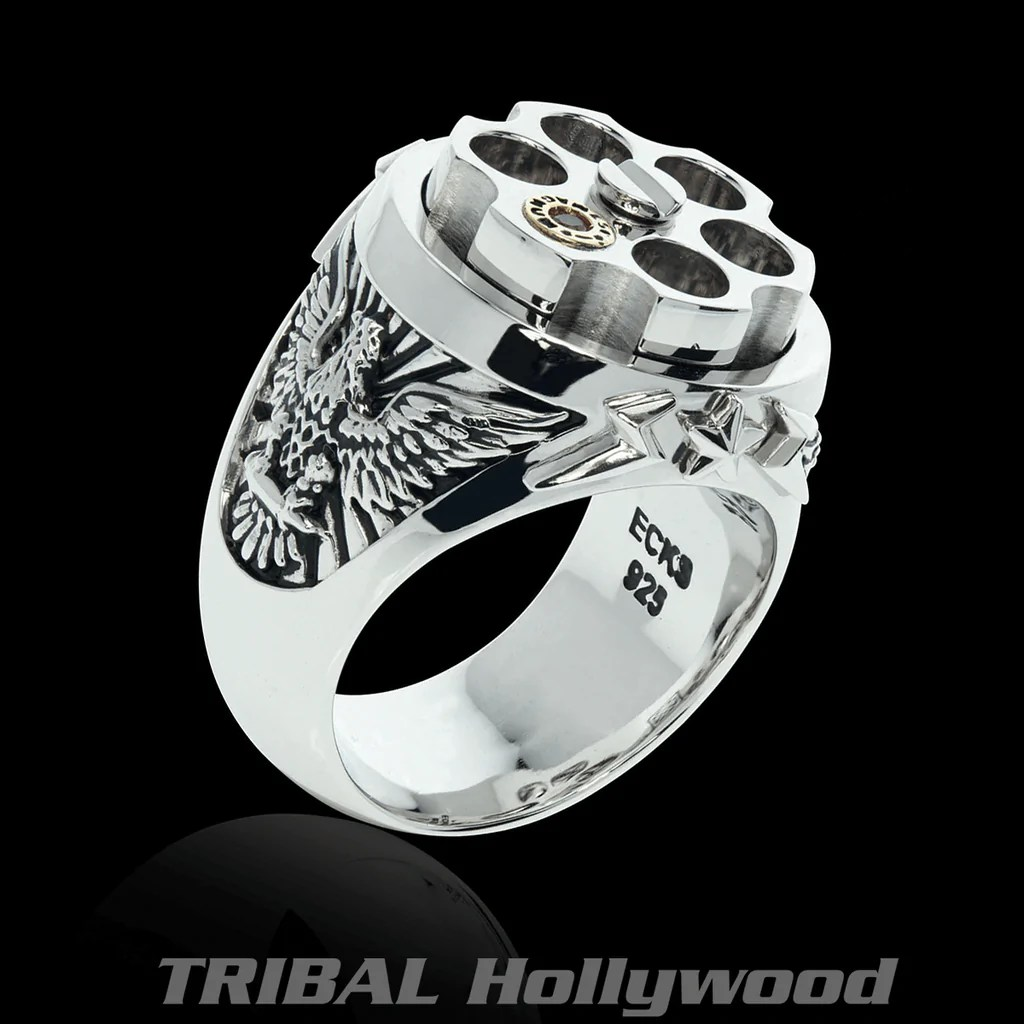 LAST SHOT Revolver Eagle Mens Ring In Silver And Gold From