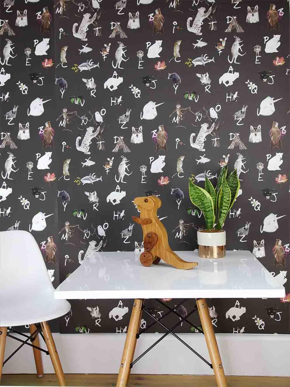 Animal Print Wallpaper For Bedrooms A Z Animal Alphabet Charcoal Base Children S Bedroom