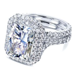 5 1/2 CARATS LARGE RADIANT DOUBLE HALO MOISSANITE AND DIAMOND RINGS