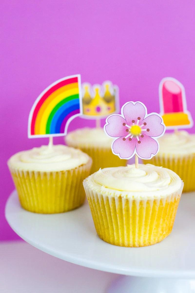 Emoji Cup Cake Toppers Printable Bespoke Bride