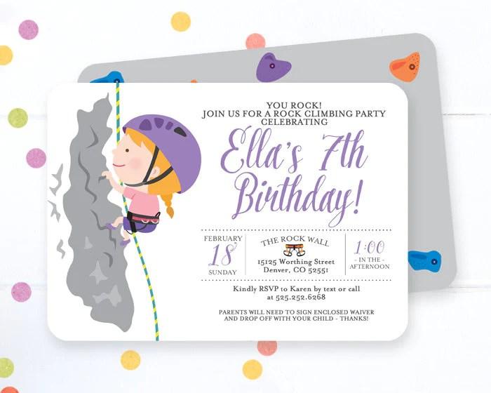 rock climbing birthday invitation boy rock climbing birthday party invite any age