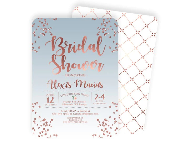 We've got 15 great themes, including classic romance, beach, bohemian, country chic and more to get you inspired! Rose Gold And Dusty Blue Bridal Shower Invitation Slate Blue Bridal Sh Sunshine Printables