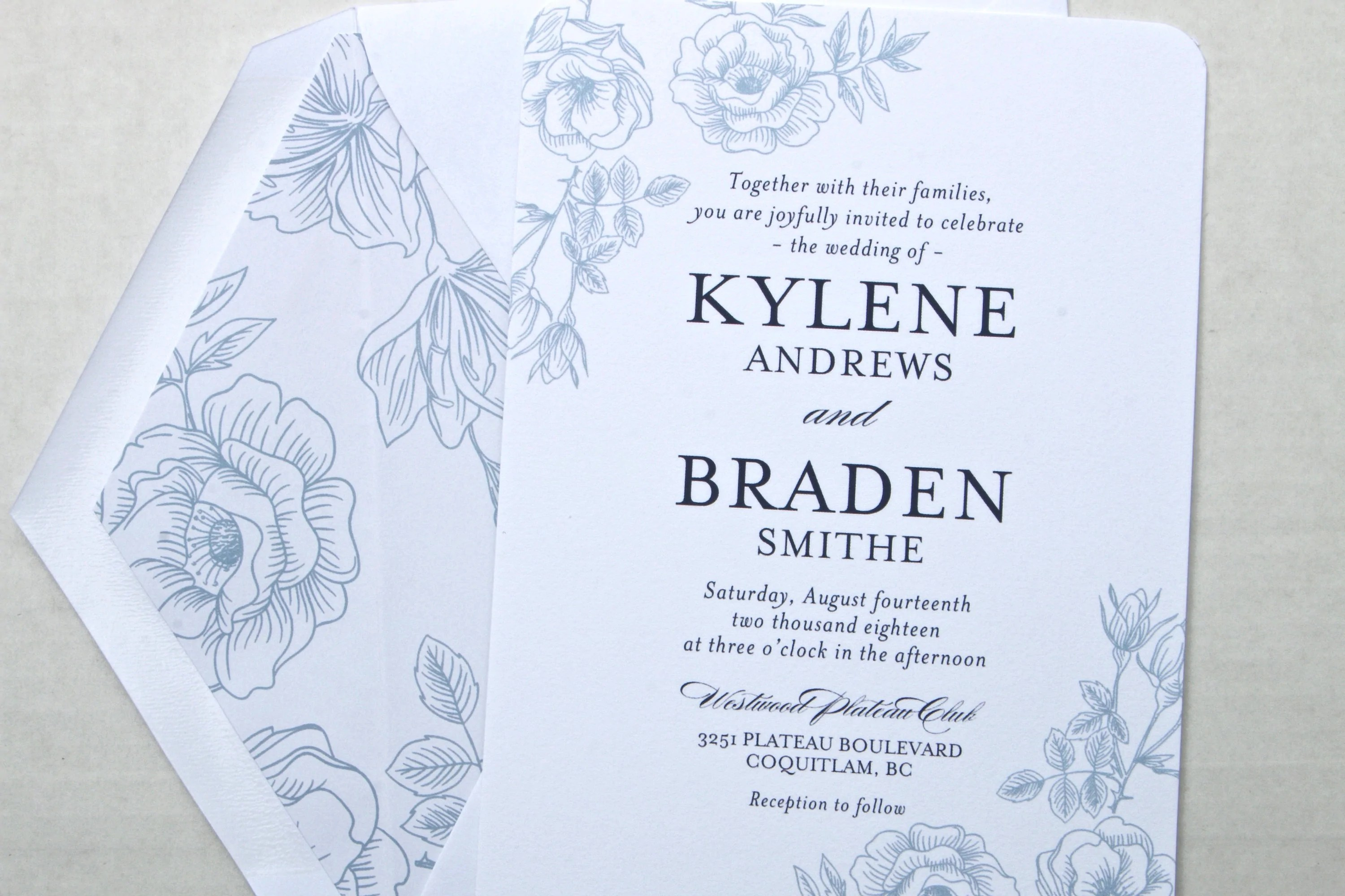 Navy Blue And White Floral Wedding Invitation Suite