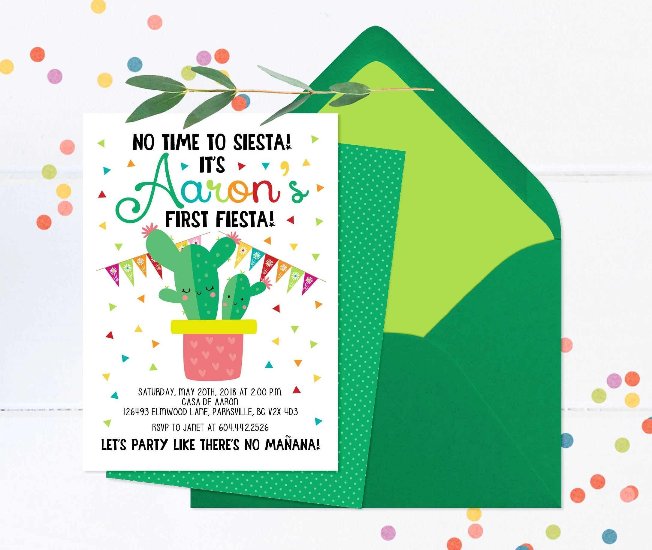 no time to siesta let s fiesta invitation fiesta 1st birthday invitation first birthday fiesta invite mexican theme birthday cactus