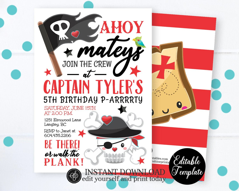 pirate birthday invitation pirate party pirate theme party pirate invitation printable editable template sp0045