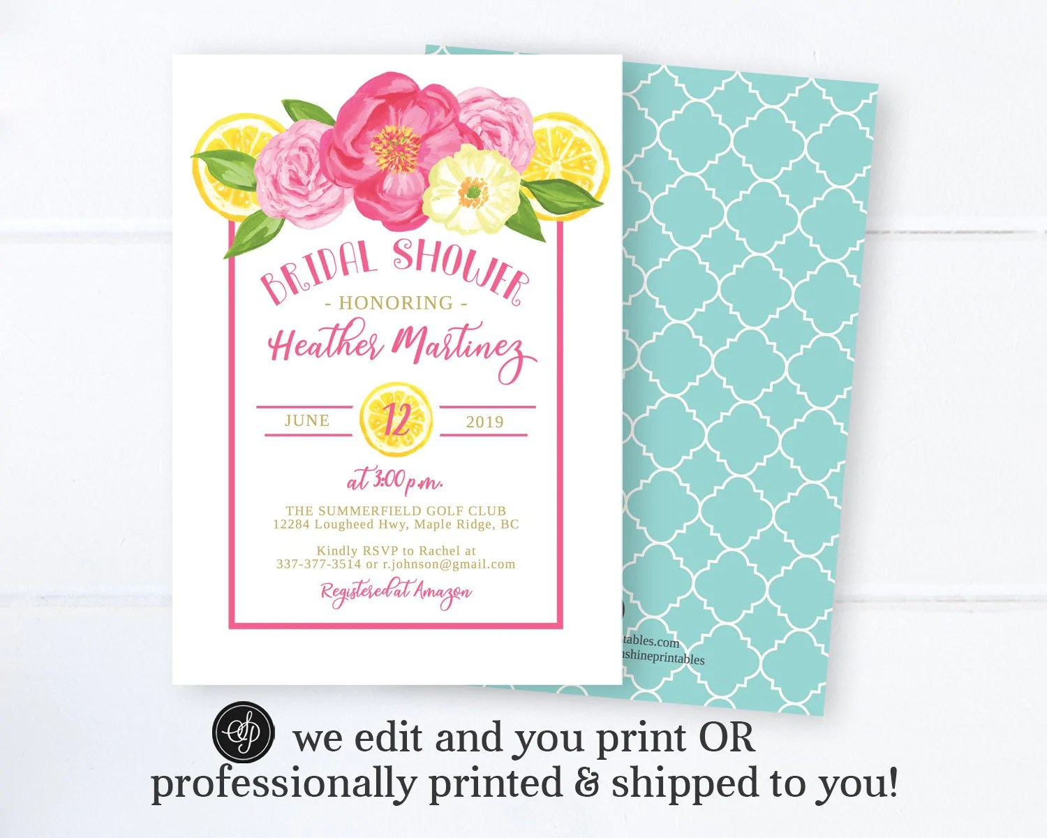 floral and lemon bridal shower invitation tuscan bridal brunch invitation wedding shower invite
