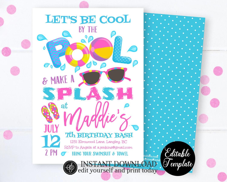 pool party invitation swimming