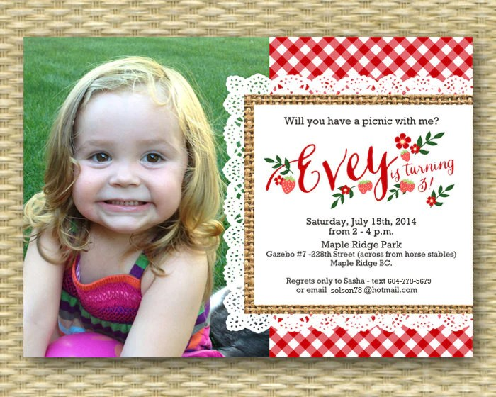 1st birthday invitation birthday picnic party summer picnic first birthday strawberry picnic farm market party photo card any colors