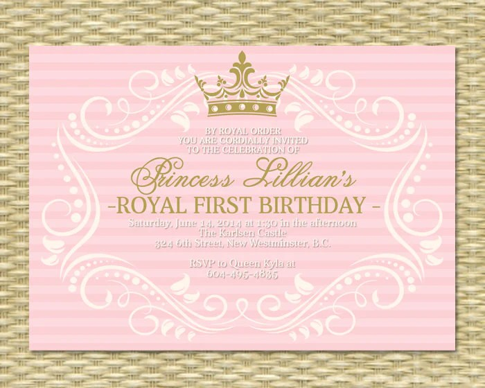 princess first birthday invitation royal baby girl shower printable her royal majesty any color scheme any event