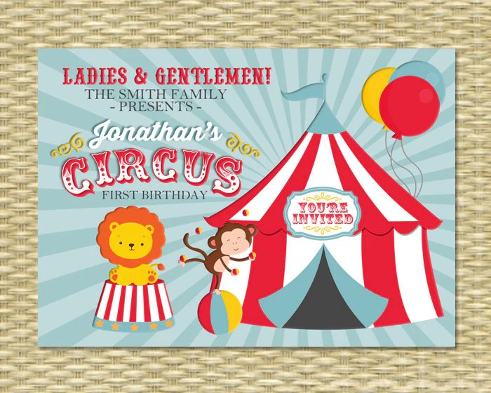circus first birthday invitation circus birthday invite carnival birthday any age single or double sided any event any color scheme