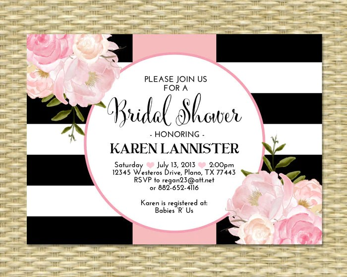 adult birthday invitation black white stripes gold glitter pink floral peonies with photo 21st birthday 30th 40th 50th any event any colors