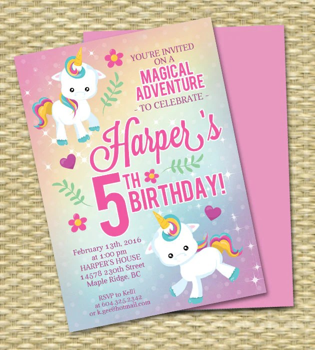 unicorn birthday invitation unicorn party invitation rainbow birthday invitation rainbow party invitation 5th birthday any age any colors