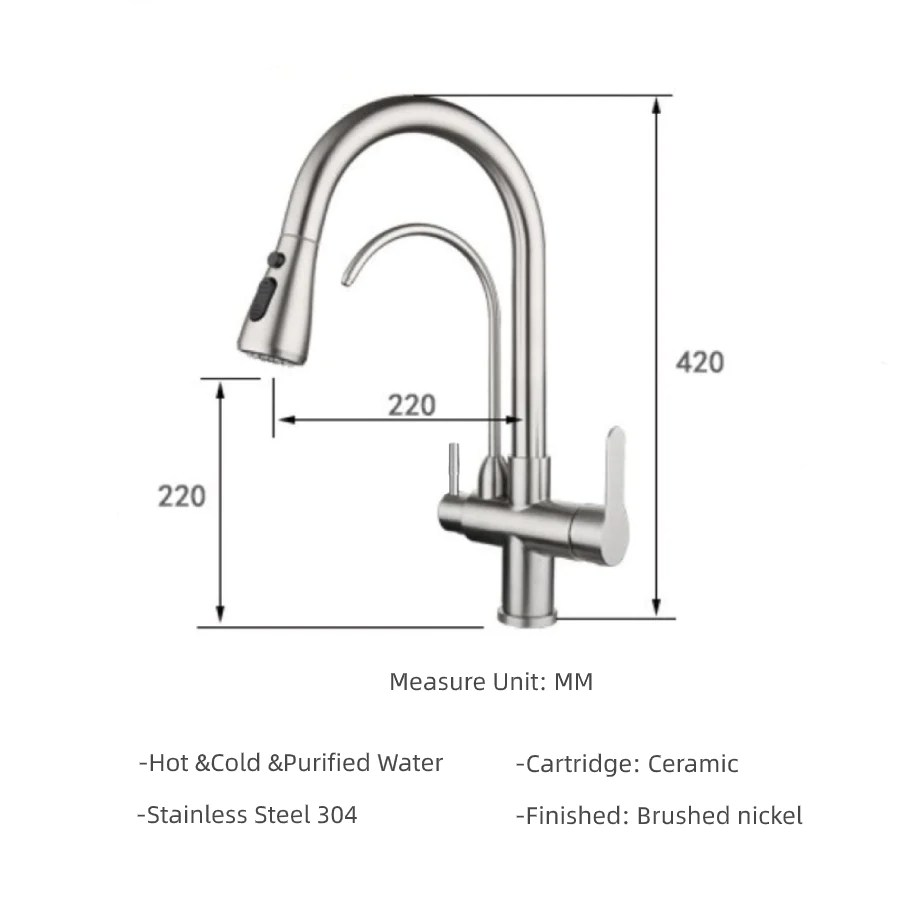 wisewater kitchen faucet with pull down sprayer dual handle high arc water filter purifier faucets brushed nickel lead free silver