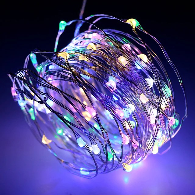 Silver Wire Led String Lights Rainbow Battery Christmas Fairy Lights W 1stavenue