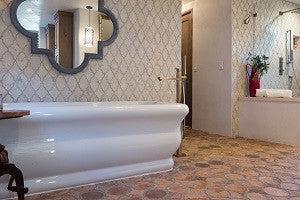 arabesque cement tile provide subtle sophistication for peaceful bath avente tile