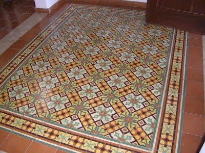 how to create a cement tile rug design