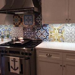 Cement Tile Kitchen Bosch Appliances Patchwork Makes Backsplash Sing Avente
