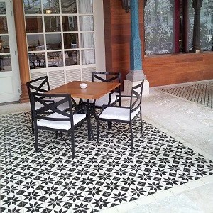 french bistro uses cement tile flooring