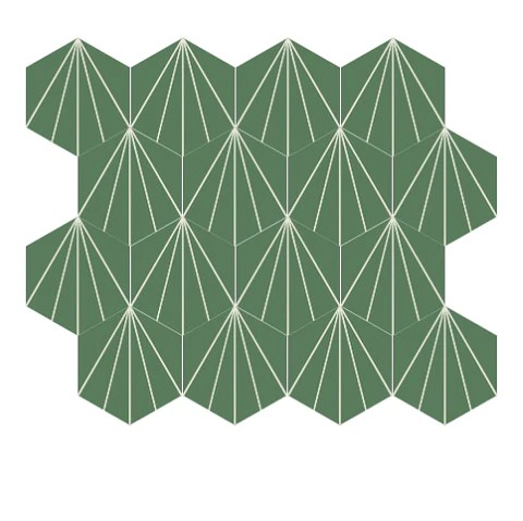 mission bakery hexagonal encaustic cement tile 8 x 9 dark green and white