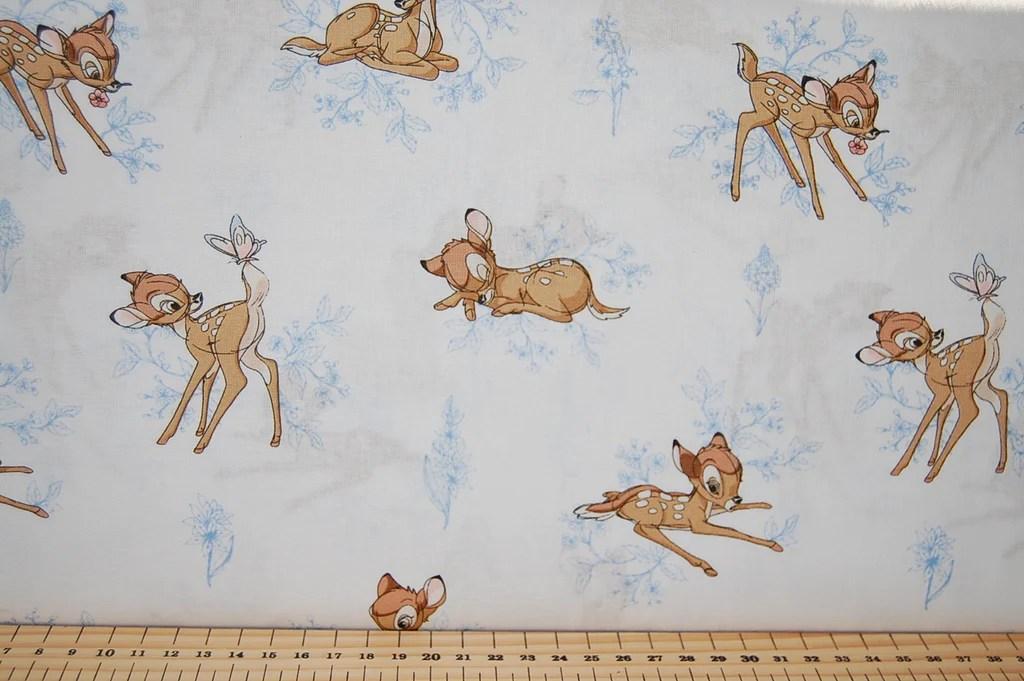 Red Animal Print Wallpaper Disney Bambi Blue Detail Fabric Shack Malmesbury