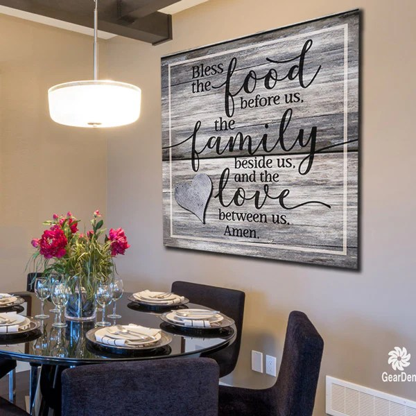 Canvas Wall Art Bless the Food Family Love Amen Quote