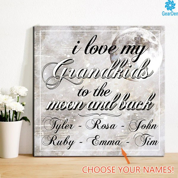 """Download Personalized Canvas Wall Art """"Love My Grandkids To The ..."""