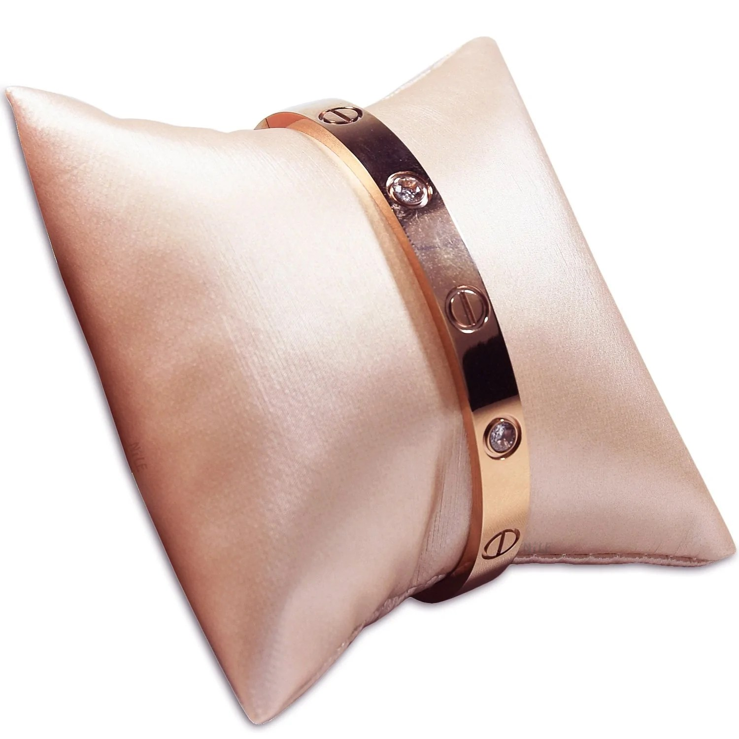 11 3 s50 champagne pink leatherette pillow bracelet bangle display