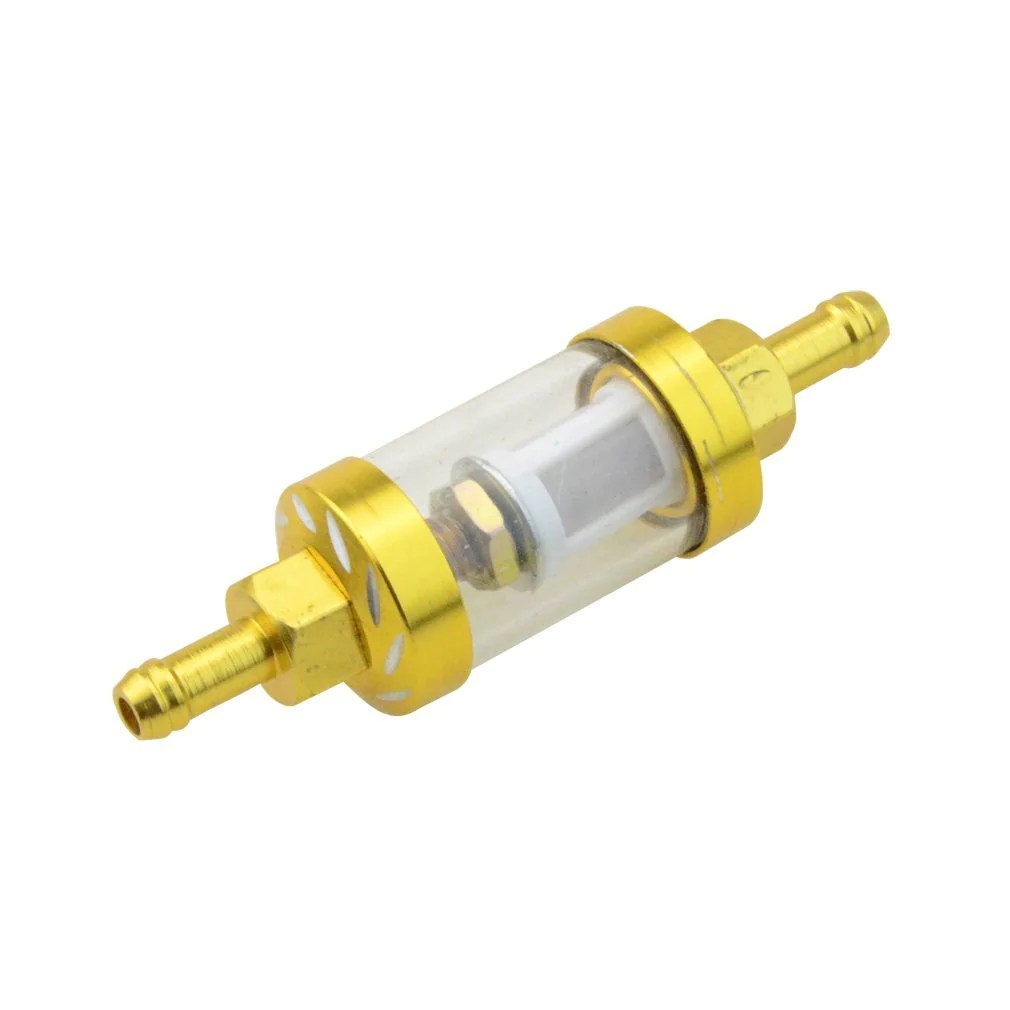 goofit universal metal gold cnc fuel filter replacement for motorcycle scooter dirt bike yellow  [ 1010 x 1010 Pixel ]