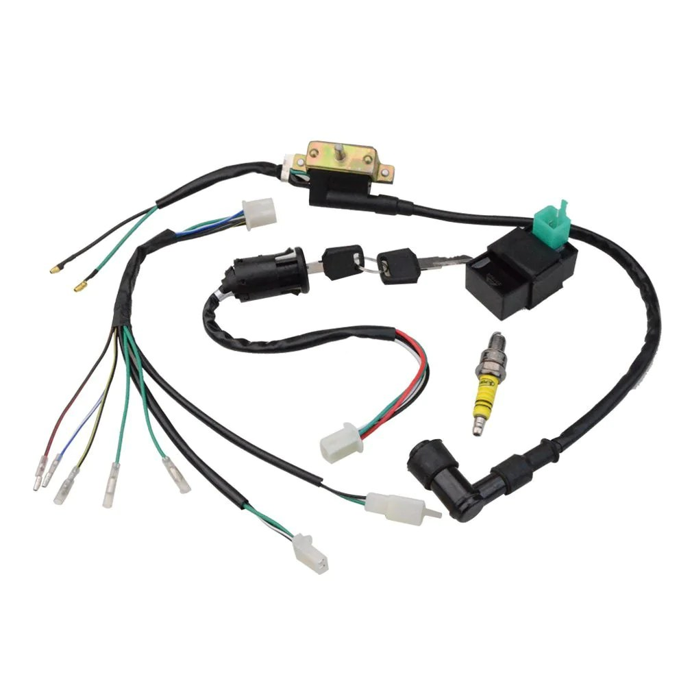 goofit ignition rebuilt kit wiring harness for 50cc 70cc 90cc 110cc 125cc stator cdi coil atv quad bike buggy go kart [ 1010 x 1010 Pixel ]