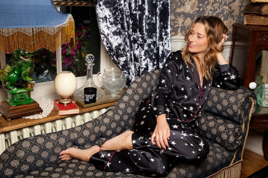 Kelly London Chatter wears DONNA IDA Lounge Lizard Silk Pyjamas