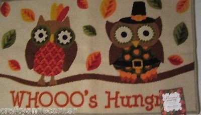 owl kitchen rugs storage organizers mat rug harvest autumn whoo s hungry pilgrims rectangle 20x33 5