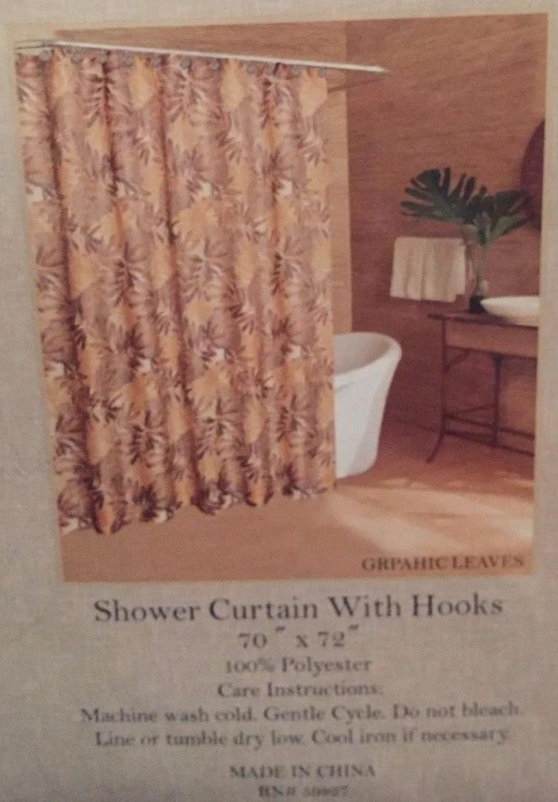 Caribbean Joe Island Supply Graphic Leaves Brown Shower Curtain And Ho Ann' Home Decor