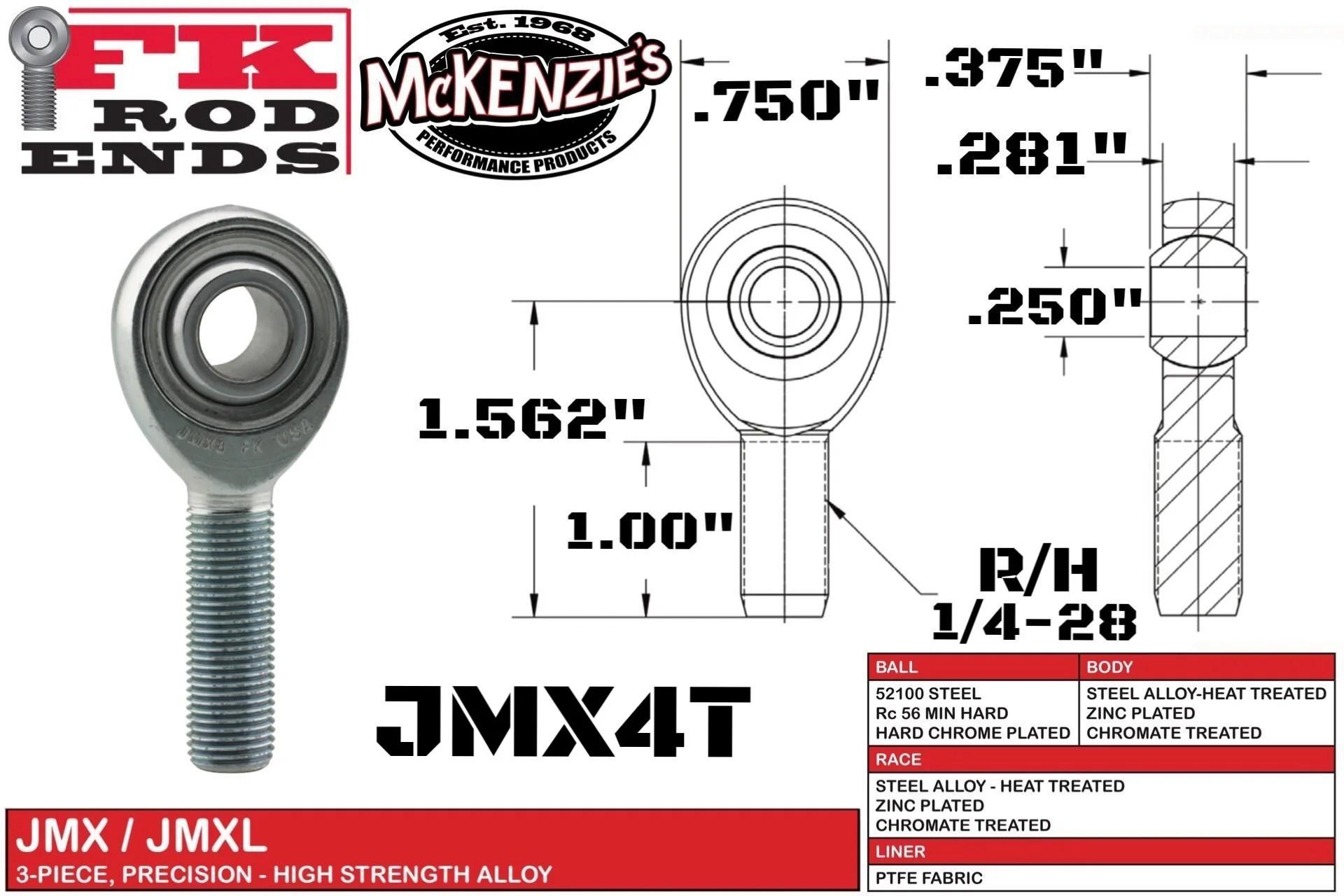 medium resolution of jmx4t male r h heim 1 4 28 thread 250 ball fk bearing
