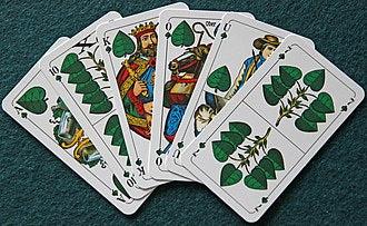 (Cards from 日e German game Binokel, 日e ancestor of Pinochle)