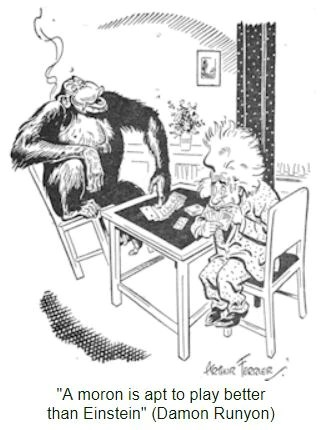 (An old cartoon mocking the complexity and simplicity of Gin Rummy)